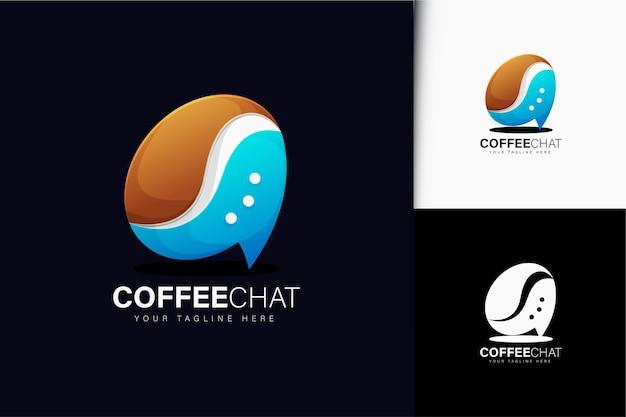 그라데이션이 있는 커피 채팅 로고 디자인