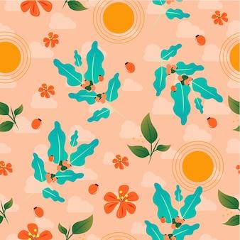 コーヒーの桜の植物のシームレスパターン