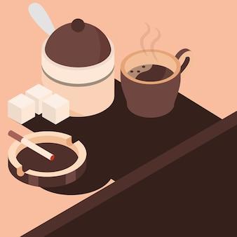 Coffee cigarette in the ashtray and sugar isometric illustration