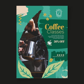 Coffee classes vertical flyer template
