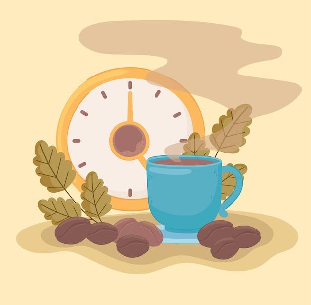 커피 시계와 곡물