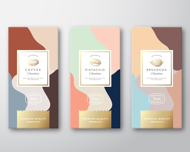 Coffee, cocoa and pistachio chocolate labels set
