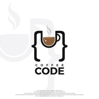 Coffee and code logo illustration