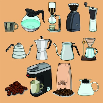 Coffee, coffee house, coffee shop elements collection.