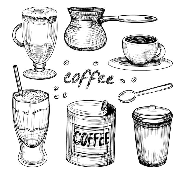 コーヒーコレクション。スケッチスタイルの手描きのベクトル図。カップ、飲み物付きグラス、ジェズヴェ、小さじ1杯、缶コーヒー。白で隔離のデザインのグラフィックヴィンテージ要素。