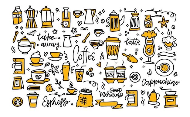 Кофейный цвет черный белый каракули большой набор кофе, чтобы забрать кофейники, чашки и элементы дизайна с надписями
