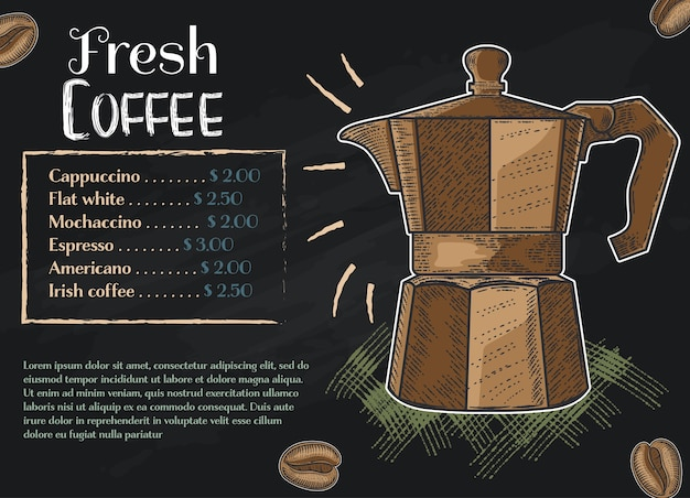 Coffee color hand drawn collection Premium Vector