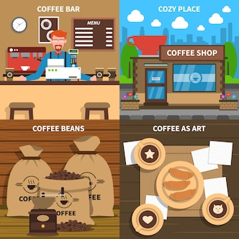Coffee concept 4 flat icons square