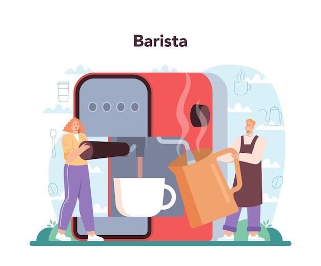 コーヒーのコンセプト。コーヒーマシンでホットコーヒーを作るバリスタ。ミルクと一緒に朝食にエネルギッシュでおいしい飲み物。カップに行くカッププチーノ。漫画スタイルのベクトル図