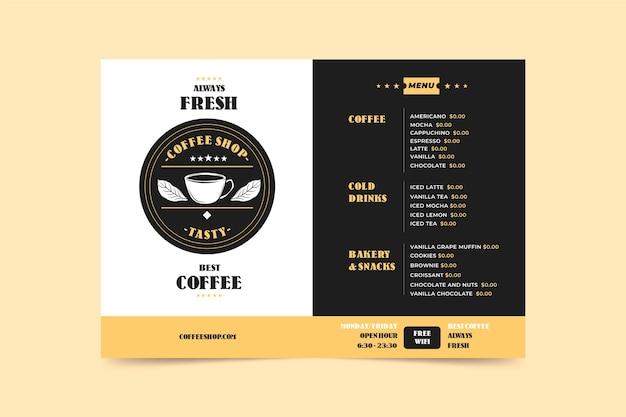 Coffee concept menu template