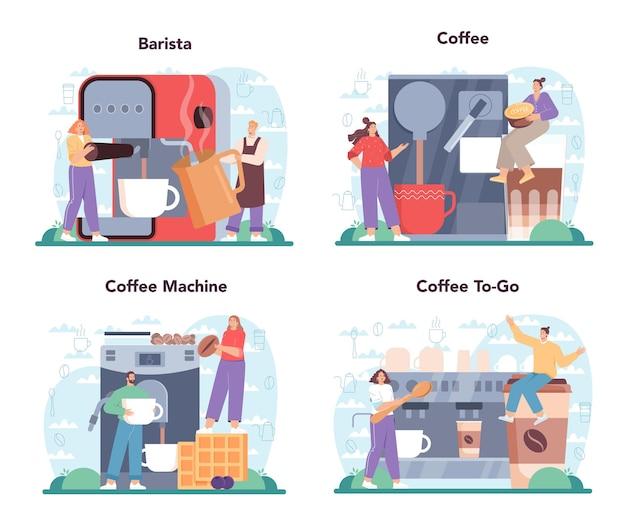 커피 개념 세트 바리스타가 커피 머신에서 뜨거운 커피 한 잔을 만들고 있습니다.