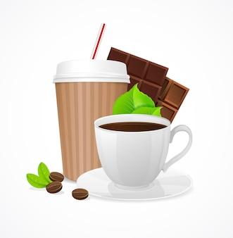 커피 개념. 테이크 아웃 또는 카페에서.