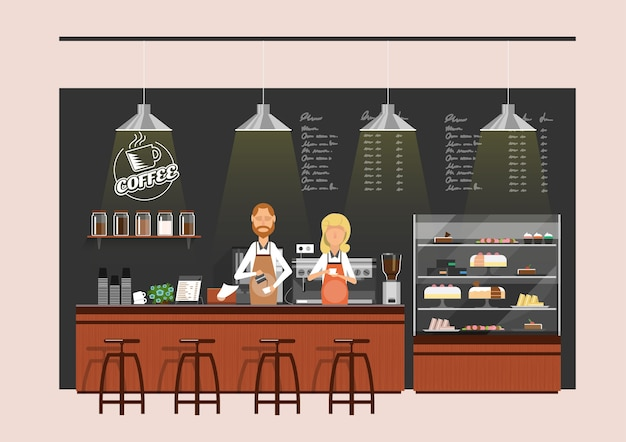Coffee counter with baristas