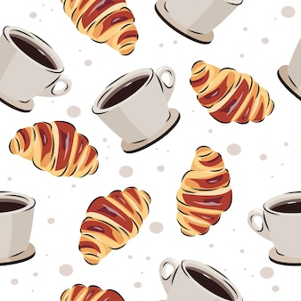 Coffee and croissant seamless pattern. vector background for food or cafe design.