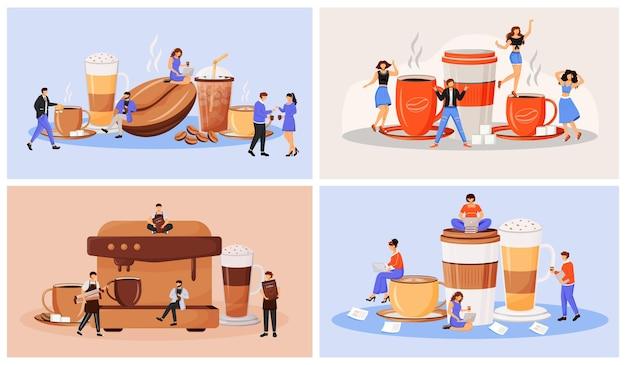コーヒー文化フラットコンセプトイラストセット