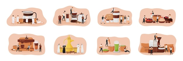 Coffee culture flat concept set. dallah set. matcha latte. patisserie with desserts. people drinking espresso 2d cartoon characters for web design. coffeeshop creative idea