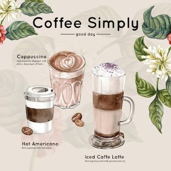 Tazza di caffè, americano, cappuccino, prendere un modo con ramo di foglie di caffè, illustrazione ad acquerello