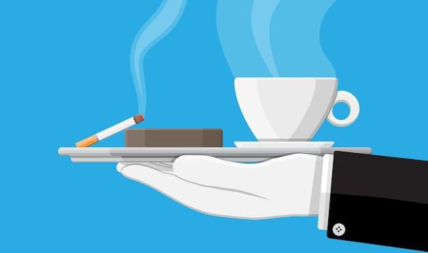 Чашка кофе и пепельница, полная дымящихся сигарет. нездоровый образ жизни. завтрак и утро. векторная иллюстрация в плоском стиле