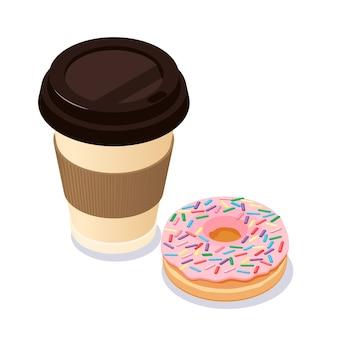 Чашка кофе и пончик.