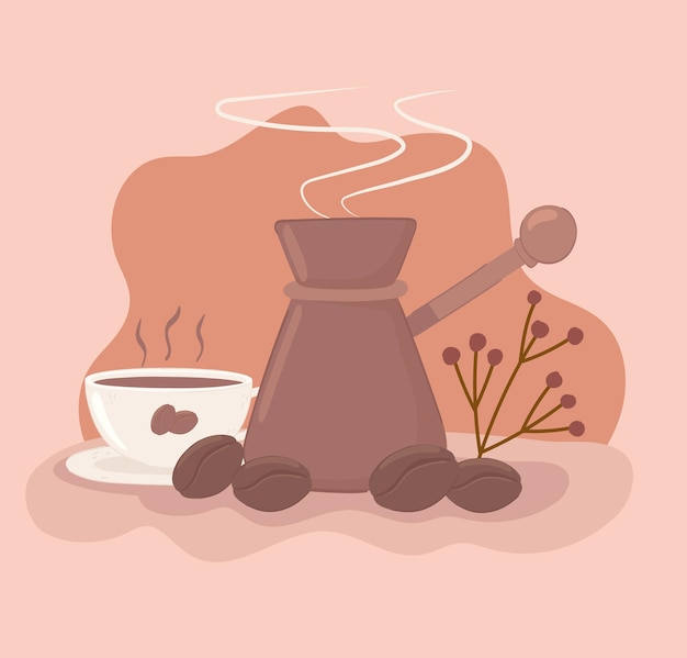 커피 컵과 주전자