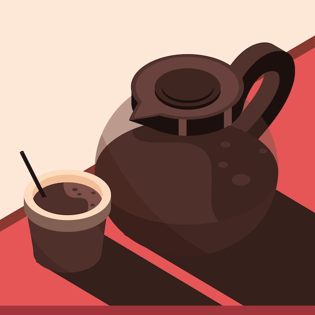 Кофейная чашка и чайник, заваривающий изометрические иконки дизайн иллюстрация