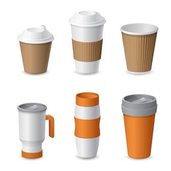 ブランディングのためのコーヒーカップとマグテンプレートのモックアップ。現実的