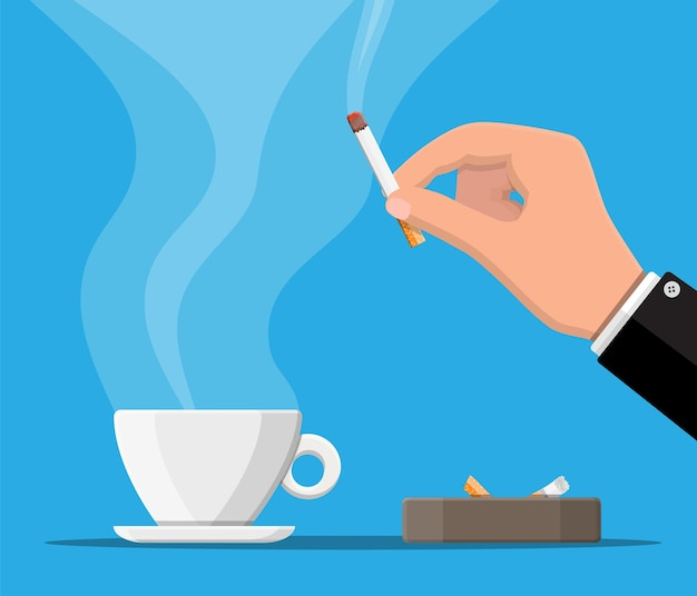Coffee cup and ashtray full of smokes cigarettes. unhealthy lifestyle.