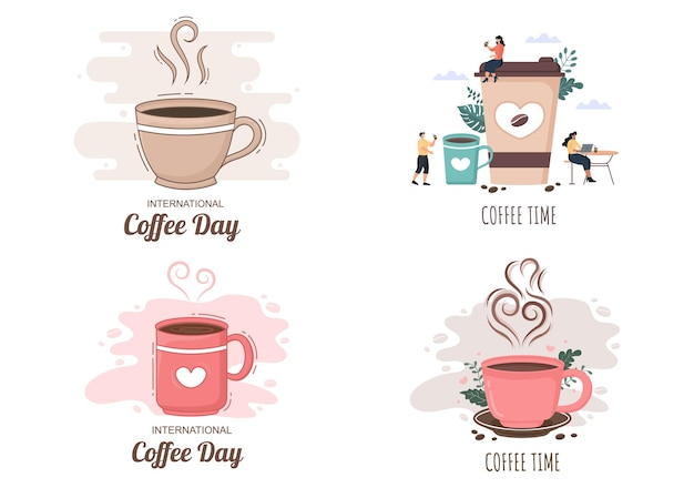 Coffee cup background vector flat design
