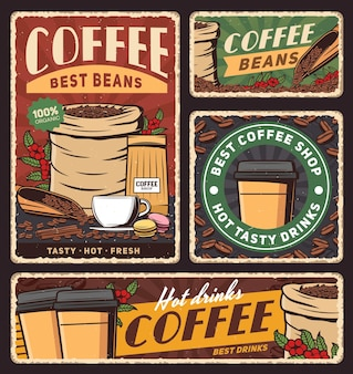Coffee cup and bag of roasted beans banners of cafe hot drinks or beverages