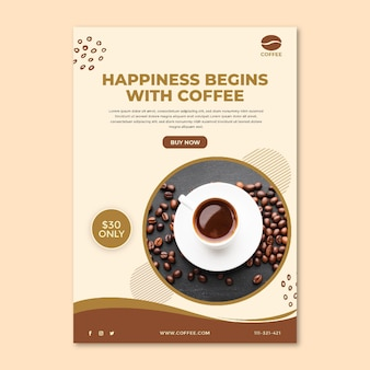 Coffee cup and beans flyer template