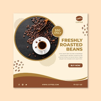 Coffee cup and beans square flyer