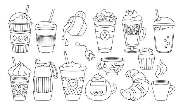 Coffee cup black line cartoon set trendy doodle flat various cups to go glass drinks foam croissant hot chocolate glass tea different disposable coffee cup icon collection