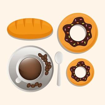 Coffee cup bread dessert breakfast food