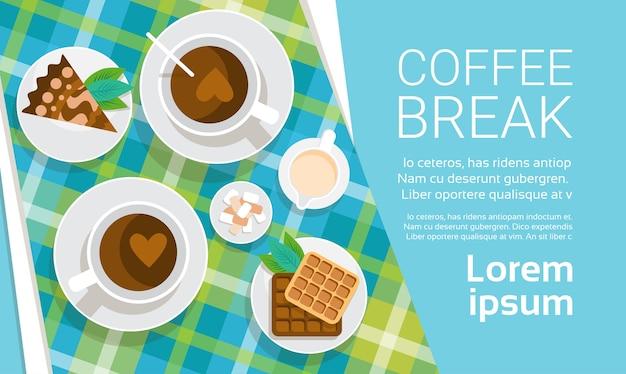 Coffee cup break breakfast drink beverage top view flat