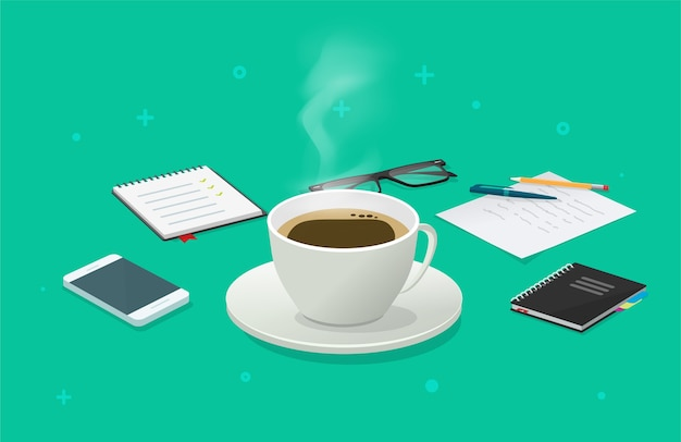Перерыв на чашку кофе на рабочем столе деловой стол изометрический мультфильм, идея завтрака
