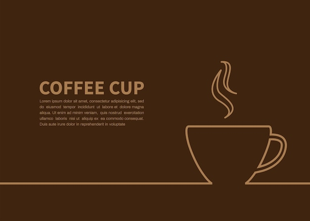 Coffee cup on brown background with copyspace for text
