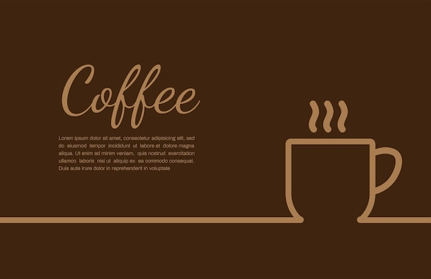 Coffee cup on brown background with copyspace for your text