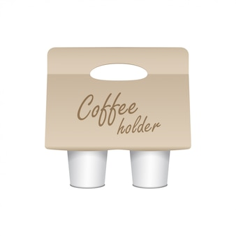 Coffee cup carton holder . cup holder takeaway