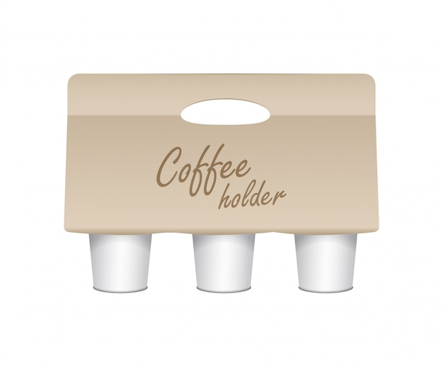 Coffee cup carton holder.  paper pack holder . cardboard coffee cup holder takeaway