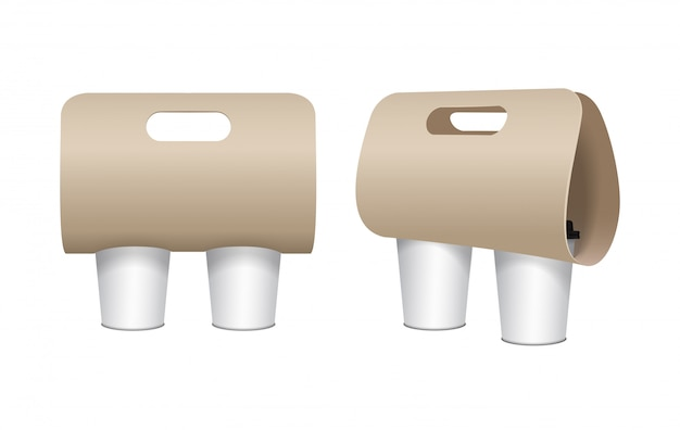 Coffee cup carton holder  set.  paper pack holder . front and side view. coffee cup holder takeaway