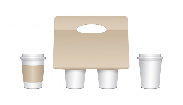Coffee cup carton holder set with paper cups and plastic caps.  paper pack holder . cardboard coffee cup holder takeaway