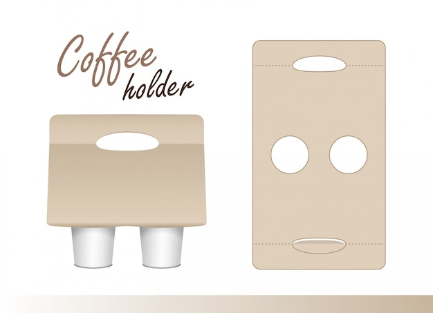 Coffee cup carton holder with die cut.  paper pack holder . cardboard coffee cup holder takeaway cut and fold