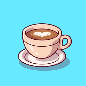 Чашка кофе мультфильм значок иллюстрации. еда и напитки значок концепции изолированы. плоский мультяшном стиле