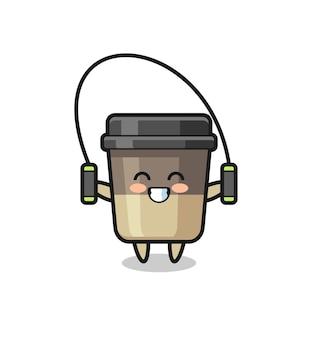 밧줄을 건너뛰는 커피 컵 캐릭터 만화, 티셔츠, 스티커, 로고 요소를 위한 귀여운 스타일 디자인