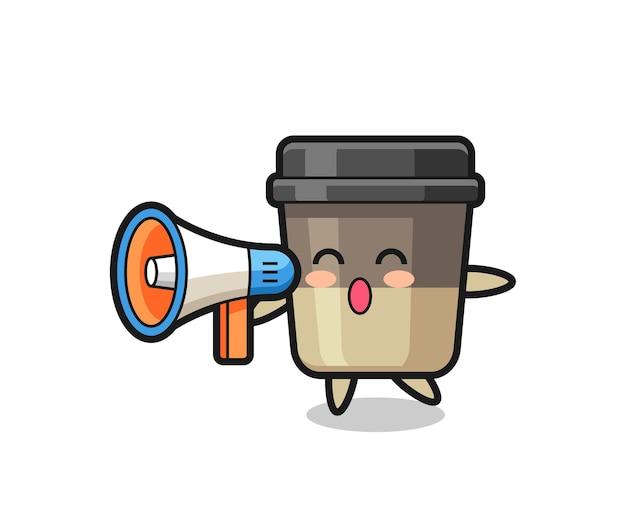 メガホンを保持しているコーヒーカップのキャラクターイラスト、tシャツ、ステッカー、ロゴ要素のかわいいスタイルのデザイン
