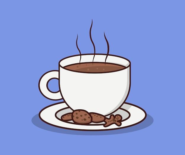 Coffee cup and chocolate cake
