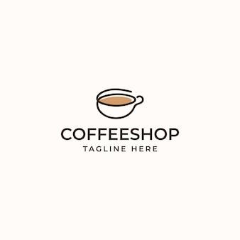 Чашка кофе кафе monoline логотип концепцию, изолированные на белом фоне