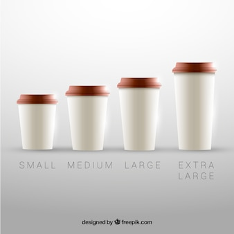 Coffee cup collection of different sizes