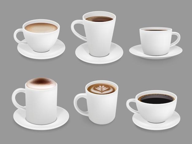 커피 컵 컬렉션. 거품과 증기 냄새가 나는 뜨거운 음료 액체 커피 에스프레소와 카푸치노 벡터와 음료 상위 뷰 컵