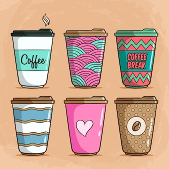 Coffee cup collection with colorful cute doodle style on brown
